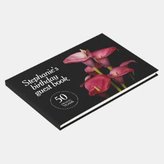 Elegant Purple Calla Lilies 50th Birthday Guest Book
