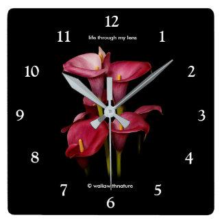 Elegant Purple Calla Lilies Square Wall Clock