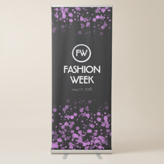 Elegant Purple Confetti Fashion Week Announcement Retractable Banner
