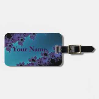 Elegant Purple Cyan Fractal Collection Luggage Tag