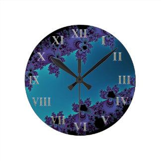 Elegant Purple Cyan Fractal Collection Round Clock