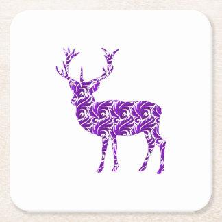 Elegant Purple Damask Deer Stag Square Paper Coaster
