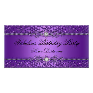Elegant Purple Damask Embossed Birthday Banner Poster