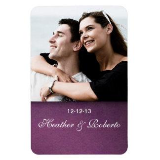 Elegant Purple Damask Grunge Save the Date Rectangular Photo Magnet