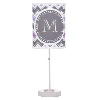 Elegant Purple Dusk Chevron Monogram Chic Table Lamp