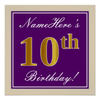 Elegant, Purple, Faux Gold 10th Birthday + Name Poster
