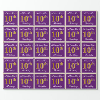 Elegant, Purple, Faux Gold 10th Birthday + Name Wrapping Paper