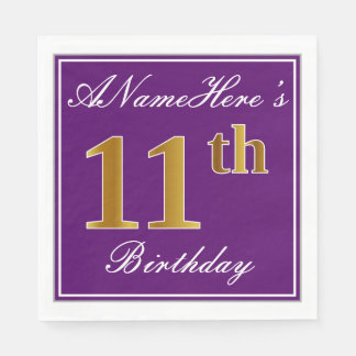 Elegant Purple, Faux Gold 11th Birthday + Name Paper Napkins