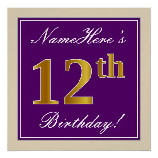Elegant, Purple, Faux Gold 12th Birthday + Name Poster
