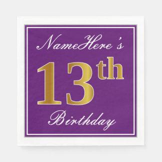 Elegant Purple, Faux Gold 13th Birthday + Name Paper Napkins