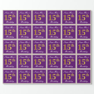 Elegant, Purple, Faux Gold 15th Birthday + Name Wrapping Paper