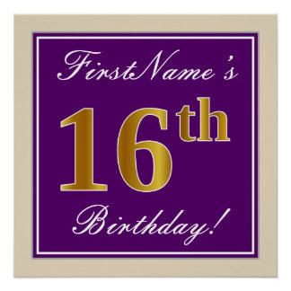 Elegant, Purple, Faux Gold 16th Birthday + Name Poster
