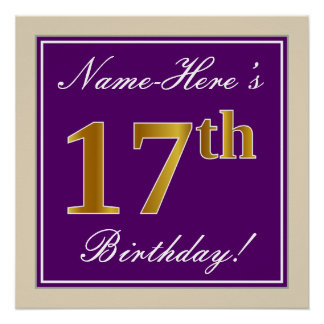 Elegant, Purple, Faux Gold 17th Birthday + Name Poster
