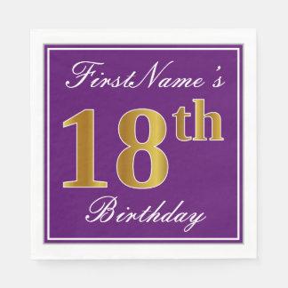 Elegant Purple, Faux Gold 18th Birthday + Name Disposable Napkins