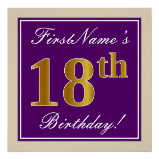 Elegant, Purple, Faux Gold 18th Birthday + Name Poster