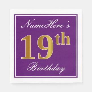 Elegant Purple, Faux Gold 19th Birthday + Name Disposable Napkins