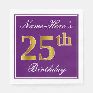 Elegant Purple, Faux Gold 25th Birthday + Name Paper Napkins