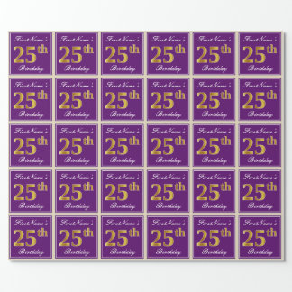 Elegant, Purple, Faux Gold 25th Birthday + Name Wrapping Paper