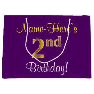 Elegant, Purple, Faux Gold 2nd Birthday + Name Large Gift Bag