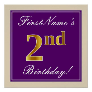 Elegant, Purple, Faux Gold 2nd Birthday + Name Poster