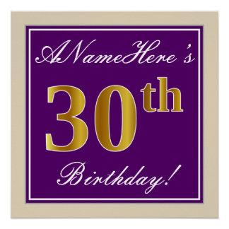Elegant, Purple, Faux Gold 30th Birthday + Name Poster
