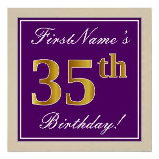 Elegant, Purple, Faux Gold 35th Birthday + Name Poster