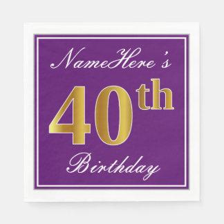 Elegant Purple, Faux Gold 40th Birthday + Name Disposable Napkins