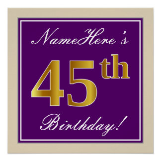 Elegant, Purple, Faux Gold 45th Birthday + Name Poster