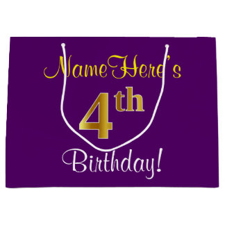 Elegant, Purple, Faux Gold 4th Birthday + Name Large Gift Bag