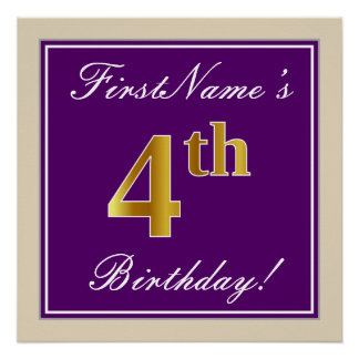 Elegant, Purple, Faux Gold 4th Birthday + Name Poster