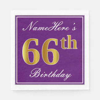 Elegant Purple, Faux Gold 66th Birthday + Name Paper Napkins