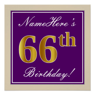 Elegant, Purple, Faux Gold 66th Birthday + Name Poster