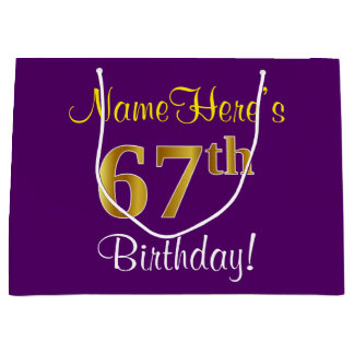 Elegant, Purple, Faux Gold 67th Birthday + Name Large Gift Bag