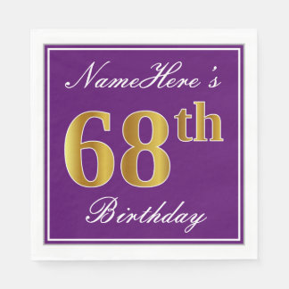 Elegant Purple, Faux Gold 68th Birthday + Name Paper Napkins