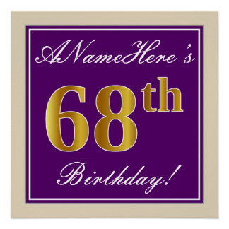 Elegant, Purple, Faux Gold 68th Birthday + Name Poster