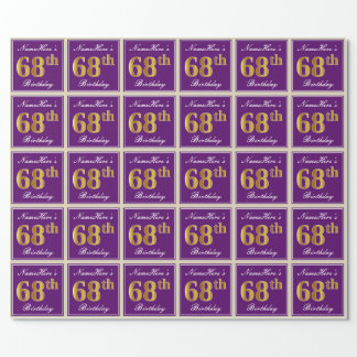 Elegant, Purple, Faux Gold 68th Birthday + Name Wrapping Paper