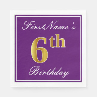Elegant Purple, Faux Gold 6th Birthday + Name Paper Napkin