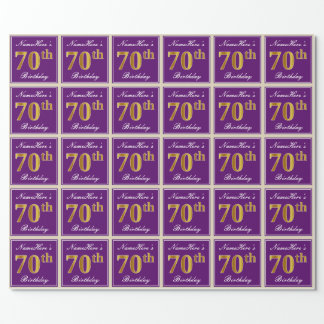 Elegant, Purple, Faux Gold 70th Birthday + Name Wrapping Paper