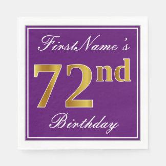 Elegant Purple, Faux Gold 72nd Birthday + Name Disposable Napkins