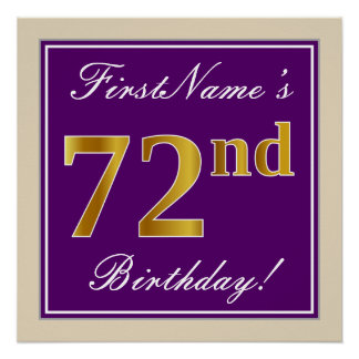 Elegant, Purple, Faux Gold 72nd Birthday + Name Poster