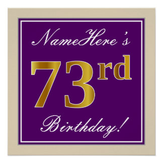 Elegant, Purple, Faux Gold 73rd Birthday + Name Poster