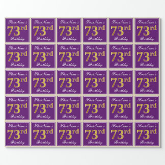 Elegant, Purple, Faux Gold 73rd Birthday + Name Wrapping Paper
