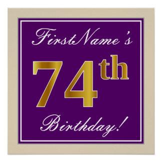 Elegant, Purple, Faux Gold 74th Birthday + Name Poster