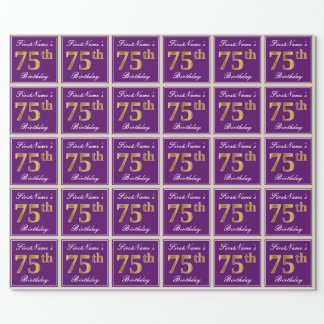Elegant, Purple, Faux Gold 75th Birthday + Name Wrapping Paper
