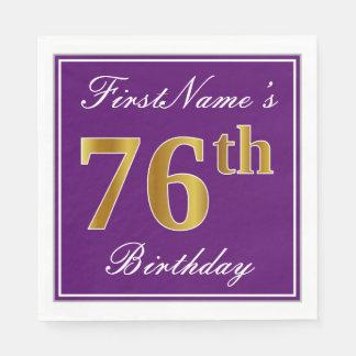 Elegant Purple, Faux Gold 76th Birthday + Name Disposable Napkins