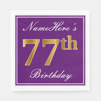 Elegant Purple, Faux Gold 77th Birthday + Name Paper Napkin