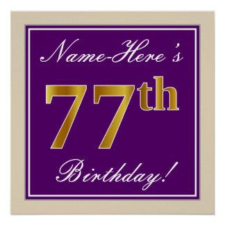 Elegant, Purple, Faux Gold 77th Birthday + Name Poster