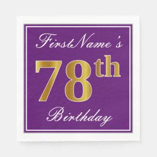 Elegant Purple, Faux Gold 78th Birthday + Name Disposable Napkins