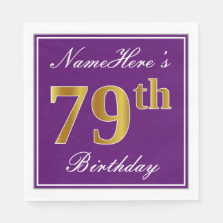 Elegant Purple, Faux Gold 79th Birthday + Name Paper Napkin