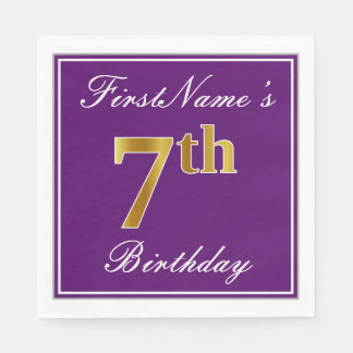 Elegant Purple, Faux Gold 7th Birthday + Name Paper Napkins